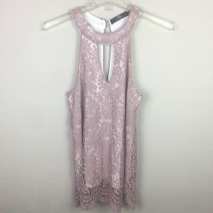 BKE Boutique pink lace blouse